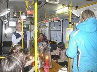 Betlémské světlo v interiéru betlémského trolejbusu